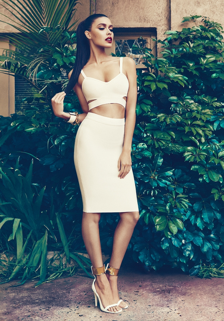 SANTONA WHITE CROP TOP AND BODY CON SKIRT SET