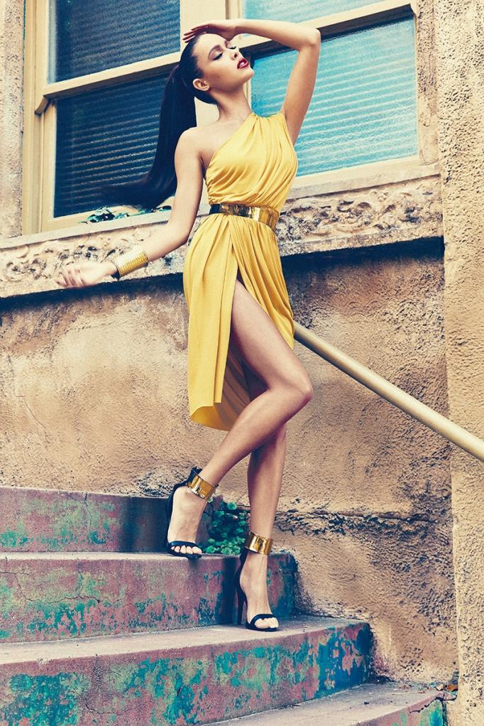 VALENCIA YELLOW ONE SHOULDER DRAPE DRESS